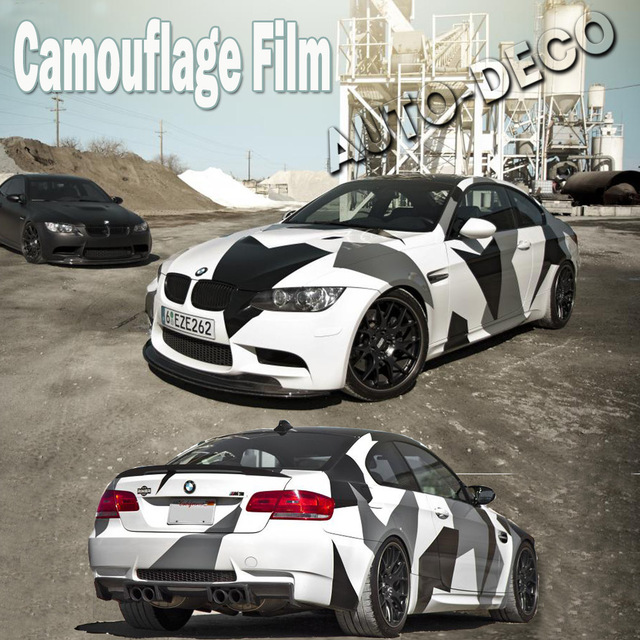 7d54b9938e Arctic Camo Vinyl Wrap Camouflage Vinyl Film Black White Vehicle Wrap  Sheets Snow Camo Roll 1.52 5m 10m 30m