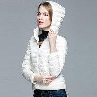 Spring Autumn Women Parka Ultra Light Down 90 White Duck Down Jacket Winter Cloth Hooded Coat
