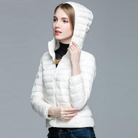 Spring Autumn Women Parka Ultra Light Down 90 White Duck Down Jacket Winter Cloth Hooded Coat
