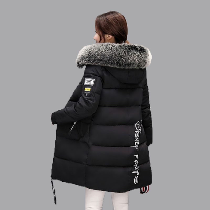 Women's Thick Warm Long Winter Jacket Women Parkas 2017 Faux Fur Collar Hooded Cotton Padded Winter letter Coat Female QH0239 ohryiyie women s thick warm long winter jacket women parkas faux fur collar hooded coat cotton padded winter coat manteau femme
