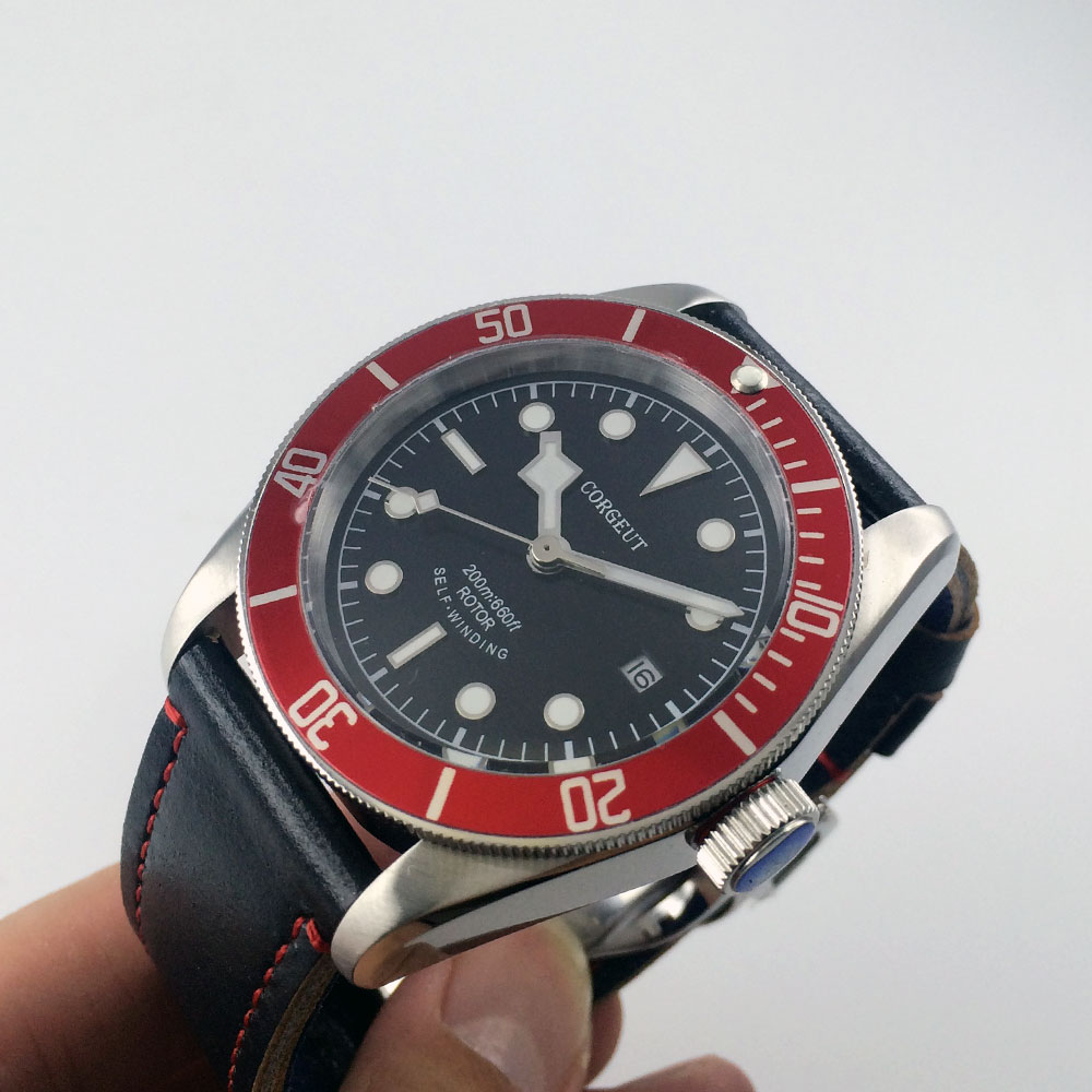 41mm Corgeut black dial silver rim hands red insert Bezel sapphire glass MIYOTA Automatic Men's watch Cor53 polisehd 41mm corgeut black dial sapphire glass miyota automatic mens watch c102