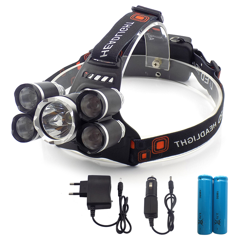 super bright with 18650 battery 5 led headlamp head Flashlight forehead lamp light torch torches Lampe frontal frontale hiking r3 2led super bright mini headlamp headlight flashlight torch lamp 4 models