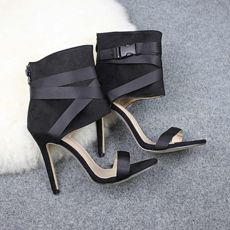 Classy ยุโรป T Stage รองเท้าส้นสูงรองเท้าแตะส้นสูงสายคล้องคอผู้หญิง Lace Up Stiletto รองเท้าส้นสูงรองเท้าเซ็กซี่เปิดนิ้วเท้ารองเท้า