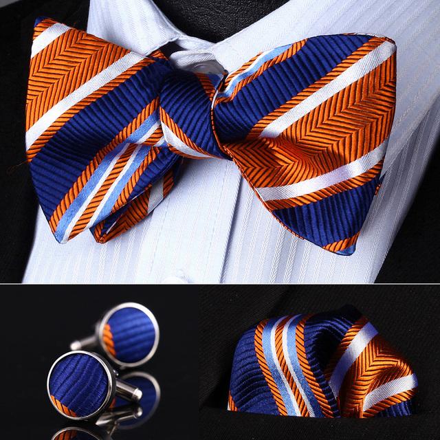 BZS06N Naranja Azul A Rayas de Los Hombres Mancuernas pañuelo de Seda Auto Pajarita set Pocket Square Classic Wedding Party