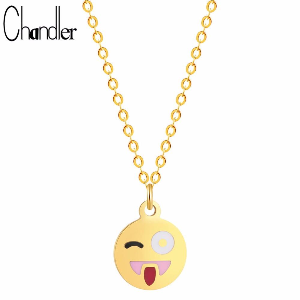Chandler Brand Facial Expression Smiling Face Pendant Necklace Colar Feminino Summer Holiday Funny Gift Bib Choker Chain Jewelry