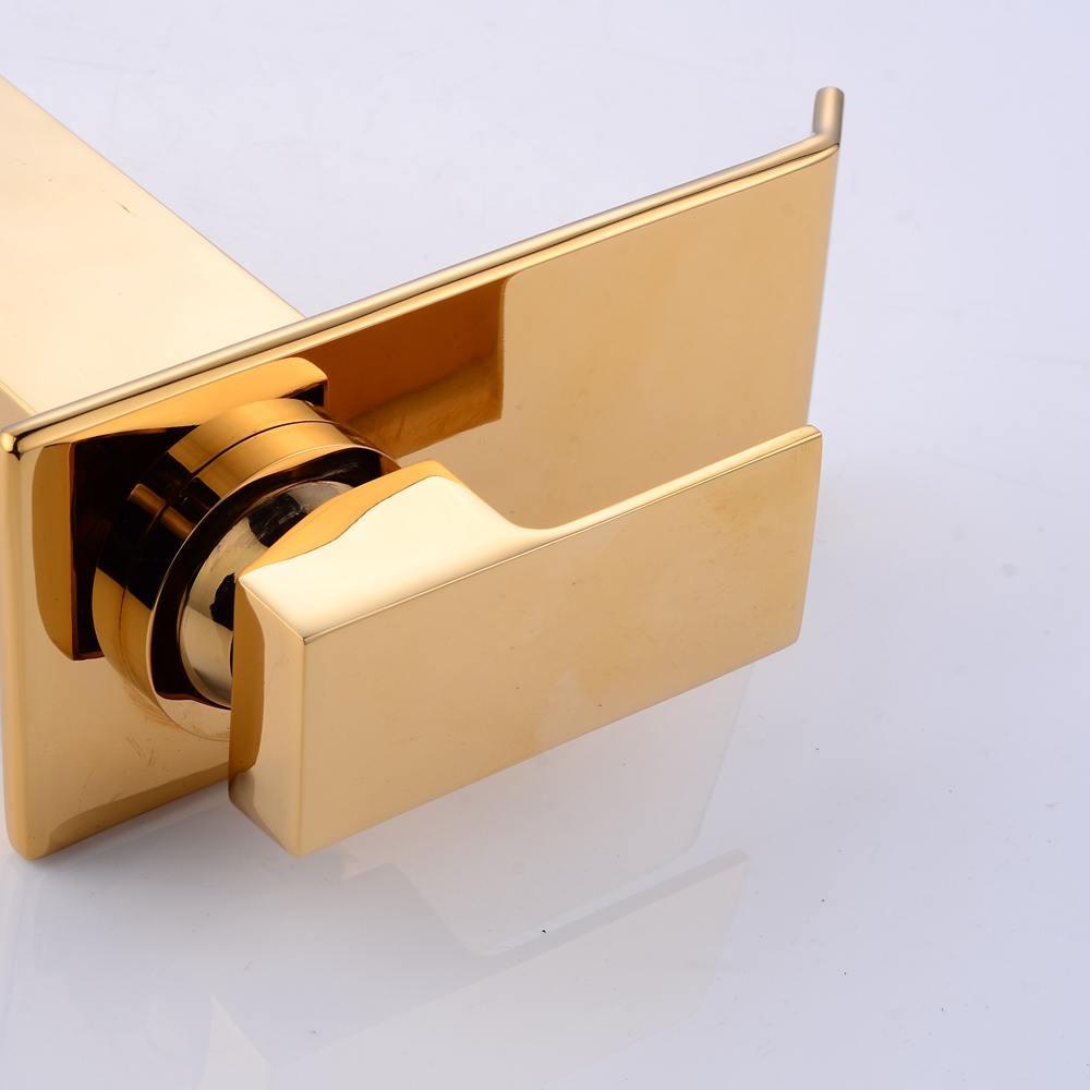 Смеситель для раковины с водопадом, роскошный золотой кран для раковины в ванную комнату, смеситель для горячей и холодной воды, смеситель д...
