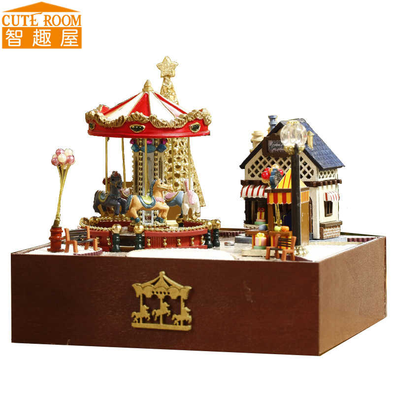 Assemble DIY Wooden House Miniaturas with Furniture DIY Miniature House Dollhouse Toys for Children Christmas and Birthday T020