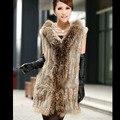 2016 Nova Genuine Knit Rabbit Fur Vest Com Capuz de Pele De Guaxinim Gola do Casaco Moda Mulheres Coelho Quente Fur Outwear