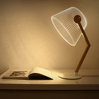 Three Dimensional 3D Visual Reading Lights Wood Acrylic Clear Small Lamp Button Type LED Stereo Night