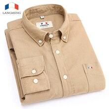 Langmeng 2017 Высокое качество 100% хлопок Длинные рукава Оксфорд мужские Повседневная рубашка мужская деловая рубашка мужская Camisa masculina