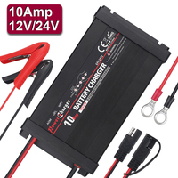 5 Stages Full Automatic 12v 24v 10A Car Battery Charger Auto Fast Power Charging Wet Dry Lead Acid Battery Repair 110v 220v