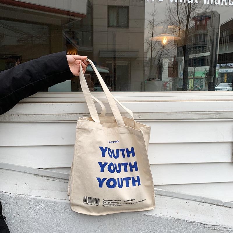 Женская тканевая хозяйственная сумка с буквенным принтом, Женская хлопковая тканевая сумка через плечо, Экологичная Сумка тоут, многоразовые сумки для покупок|Хозяйственные сумки|   | АлиЭкспресс - Шоперы с Алиэкспресс
