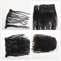 Brazilian Human Hair Clip Ins For African American Afro Kinky Curly 4C Clip in Hair Extensions For Black Women 180g Natural #1B