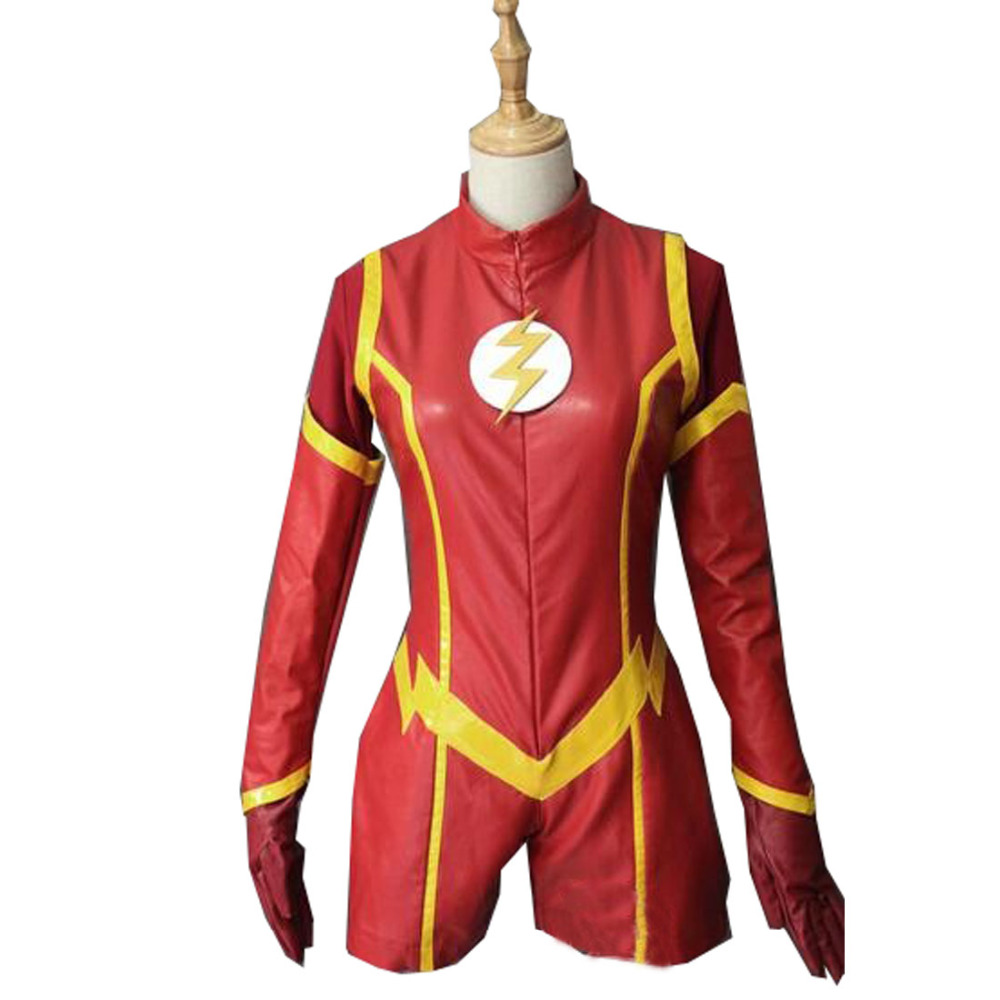 2017 Newest Red Female The Flash Superhero Costume Halloween Cosplay Party Flash Suit