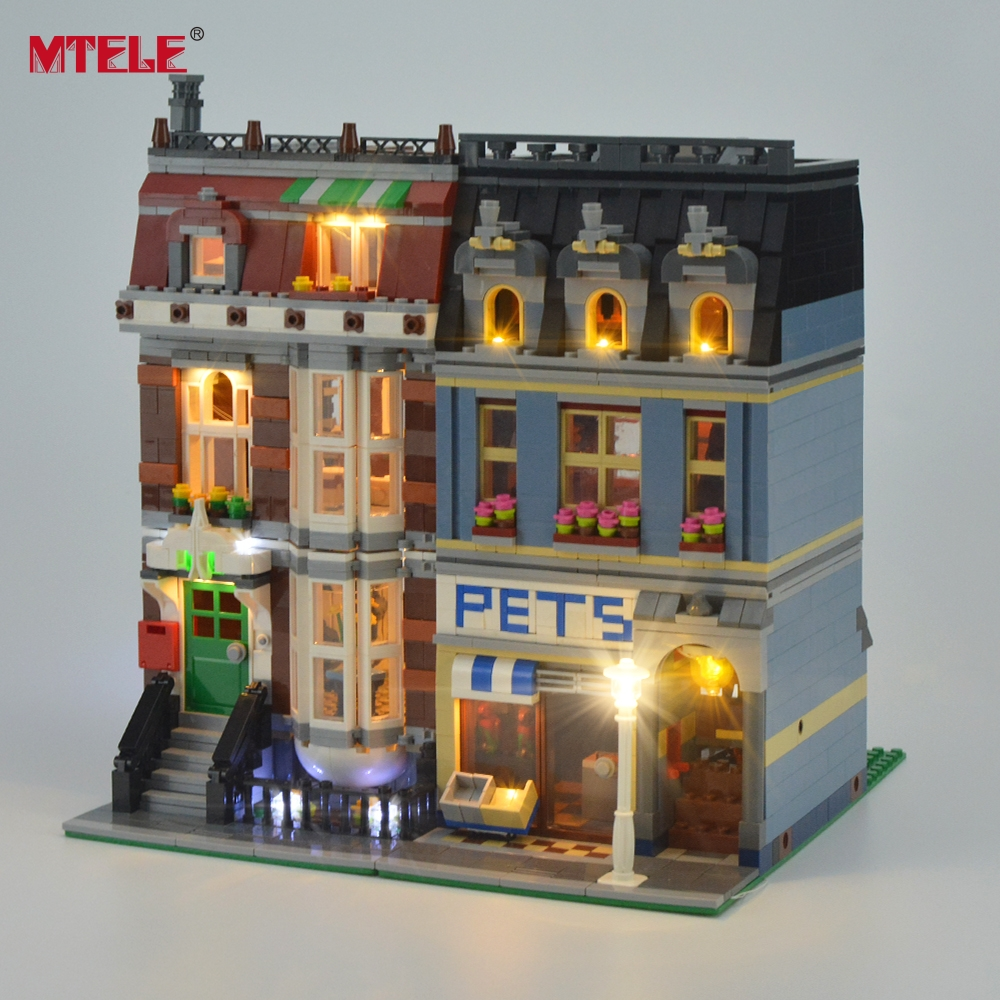 MTELE Brand LED Light Up Kit til Pet Shop Supermarket Light Set Kompatibel med 10218 og 15009 (IKKE inkluderet modellen)