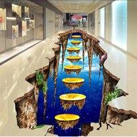 Beibehang Personalizada Foto del Piso Más Grueso A Prueba de agua y Portátil Suelo PVC Pinturas 3D Grandes Monos de Avenida Oro Decoración Del Piso