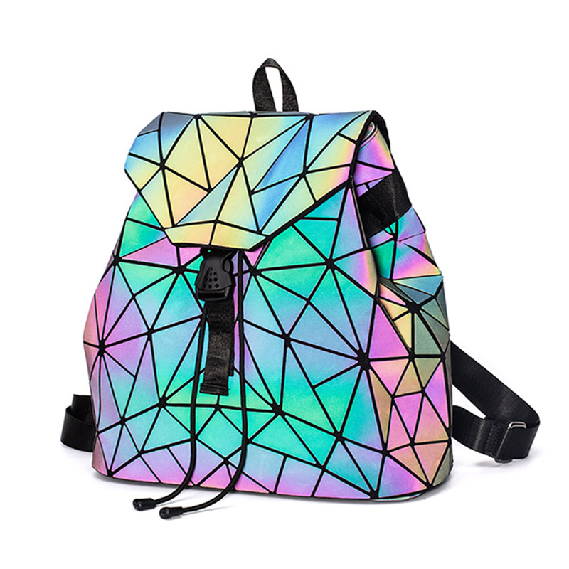 Luminous Backpack Geometry-Package School-Bags Sequins Teenage-Girl Female Fashion Feminina
