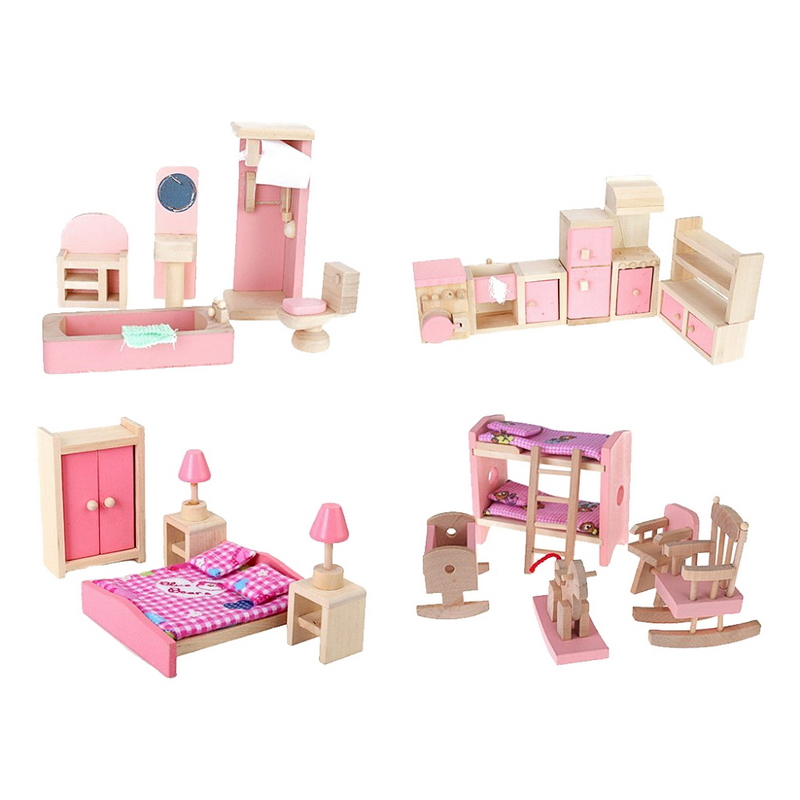 Charmant 4 Sets Dollhouse Miniature Furniture Wooden Toy 3D DIY Dolls House Assembly  Furniture Toys Bedroom Living