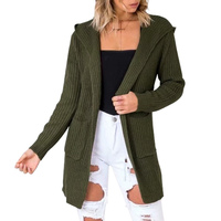 Autumn Winter Sexy Backless Knitting Cardigan Lace Up Sweater Women Hooded Cardigans female Tops Hollow Out jumper pull femme