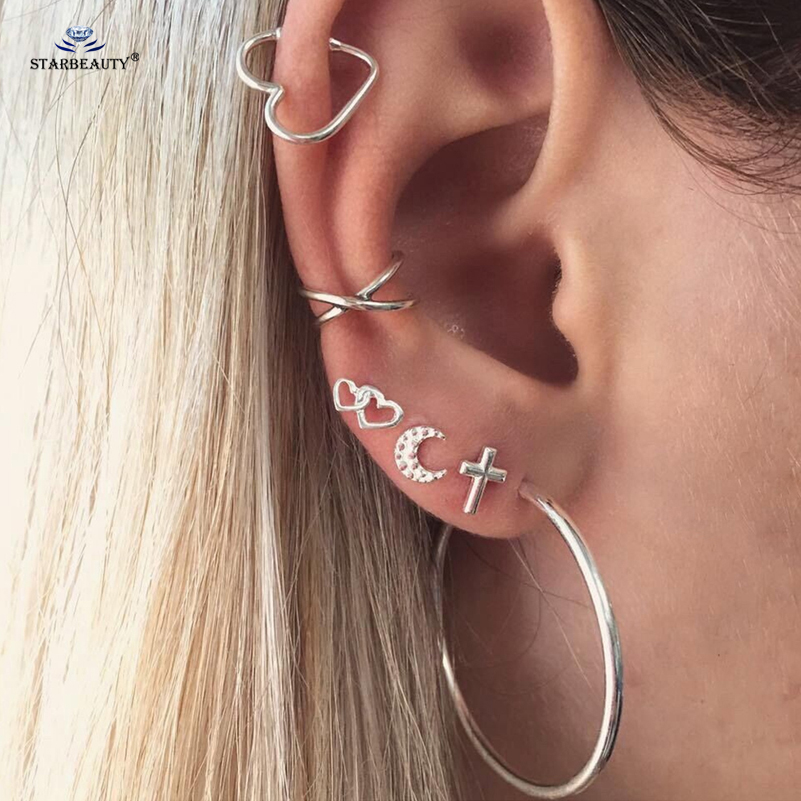 Starbeauty Hot 6pcs Lot X Cross Moon Heart Ear Piercing Helix Piercing Tragus Piercing Big Circle Hoop Earrings Set