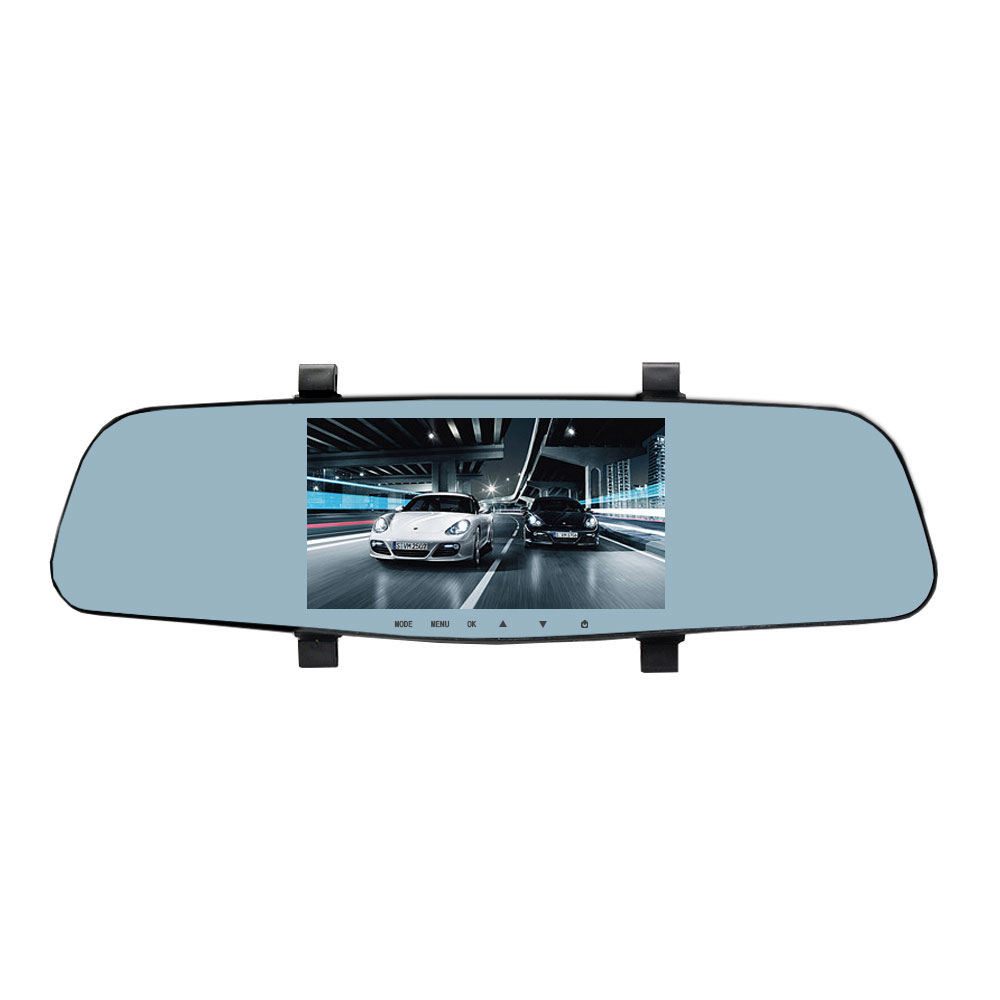 ENKLOV  5'' Dual Lens Video Recorder Dash Cam Super Night Vision 1296P Rearview Mirror Car Camera Waterproof DVR Rear View 5 inch car camera dvr dual lens rearview mirror video recorder fhd 1080p automobile dvr mirror dash cam