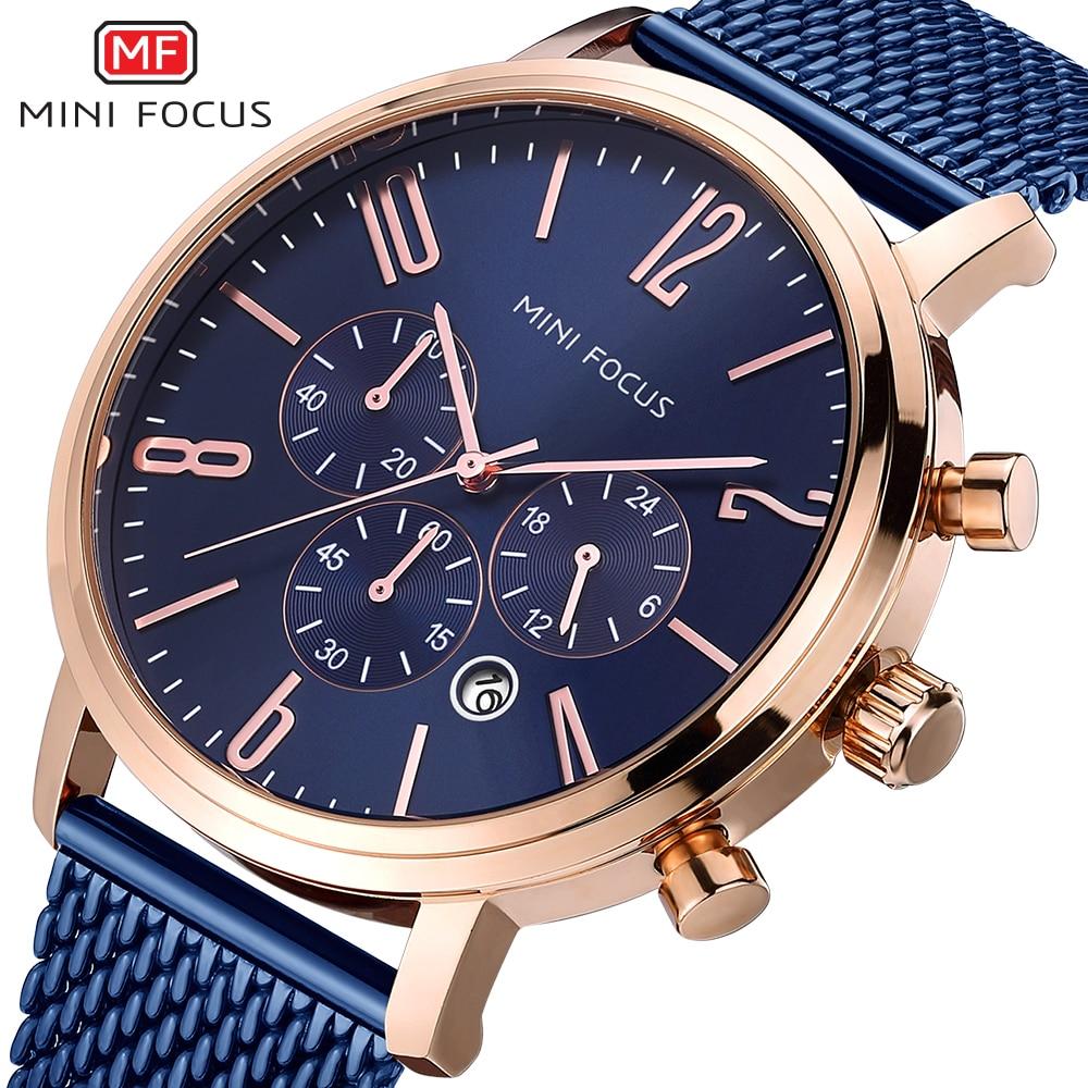 MINI FOCUS Top Brand Men Stainless Steel Quartz Watch Luxury Chronograph Wristwatch Calendar Men Sports Watches Male Blue Clock