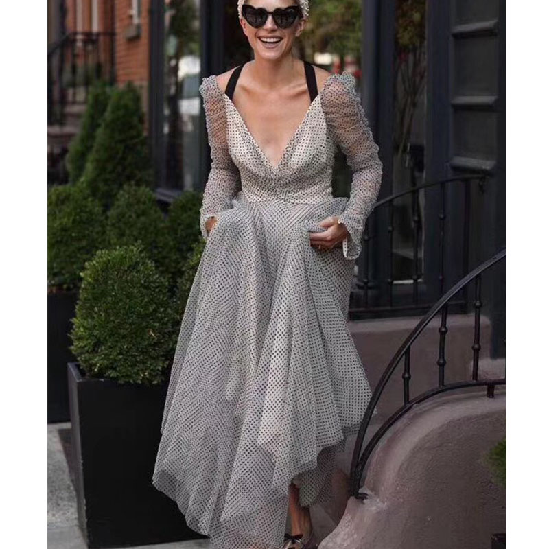 Cosmicchic Tulle Embroidery Dot Maxi dress Deep V neck Long Sleeve Party Vintage Dresses