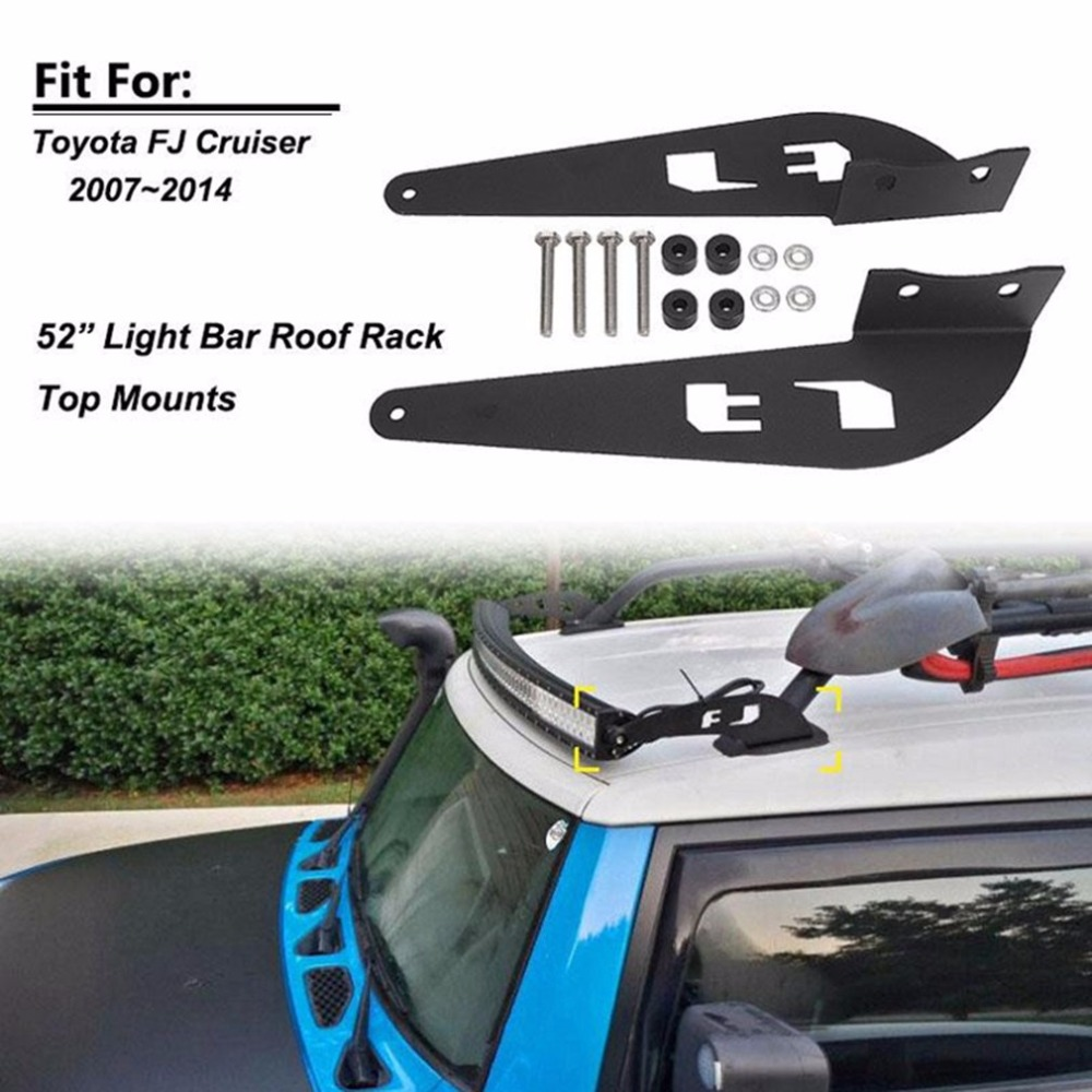 52 Inch Light Bar Roof Rack Top Mounts Windshield Curved Lamp Bracket For Toyota For FJ Cruiser 2007-2014