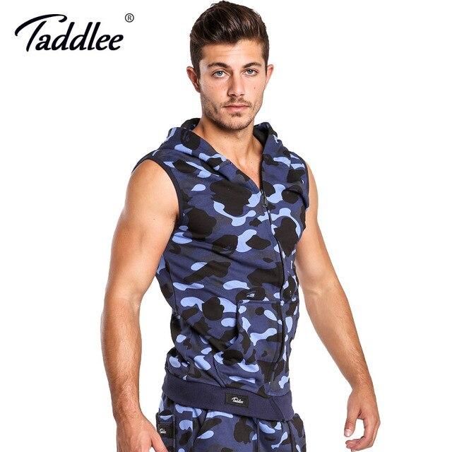 Taddlee Brand Hoodies Tank Top Men Sleeveless Zip-up Vest Active Camo Fitness Men's Active Hooded Gym Cotton Tees New