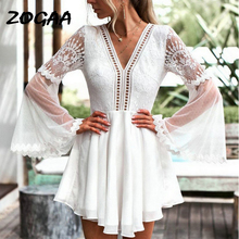 ZOGAA Hollow Out White Dress Sexy Women Mini Chiffon Backless Dress V-Neck Long Flare Sleeve Crochet Lace Summer Beach Vestidos new europe new 2018 spring summer pregnant women causal sexy v neck long flare sleeve hollow out lace dress maternity clothes