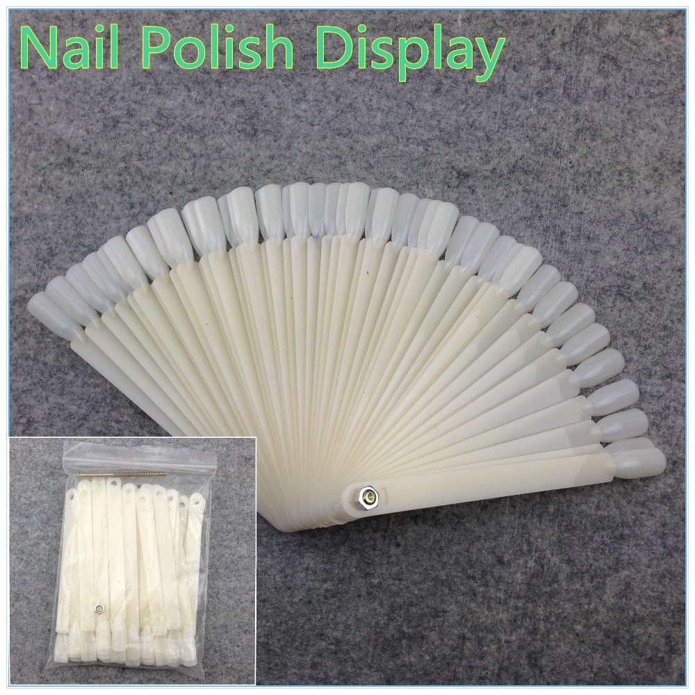 WUF 50Pcs Natural White False Nail Art Tips Sticks Polish Display Fan Practice Tool Board Nails Tools