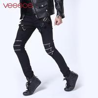 Vessos Home Boys Pencil Pants Punk Men'S Trousers Gothic Fashion Party Gothic Pants White Zippers Cotton