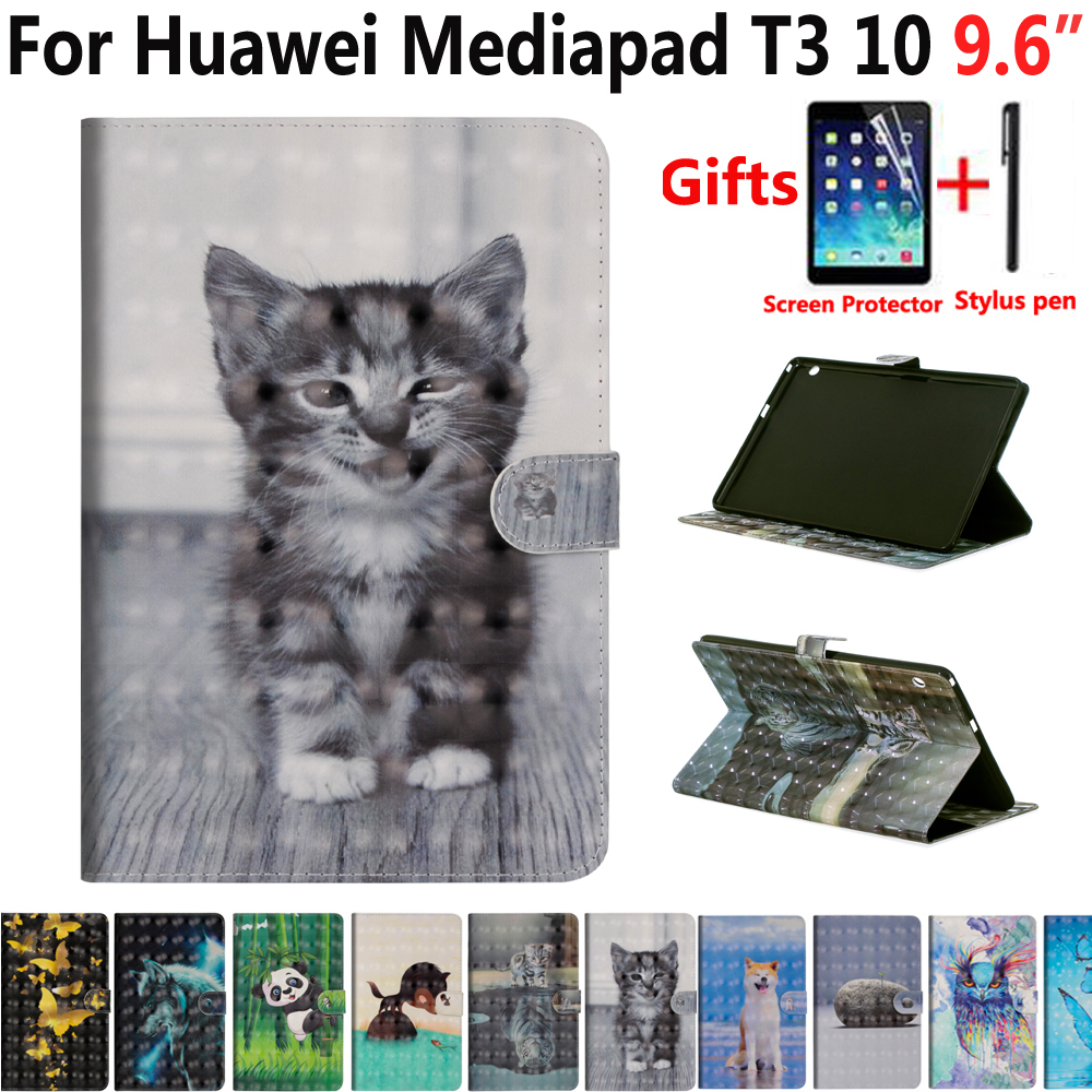 Animal Cat Case for Huawei Mediapad T3 10 9.6 AGS-L09 AGS-L03 AGS-W09 Cover Shockproof Stand Case for Huawei Mediapad T3 10 9.6 case for tablet huawei mediapad t3 10 case funda for huawei t3 10 cover ags l03 silicone shockproof holder protector 9 6 inch