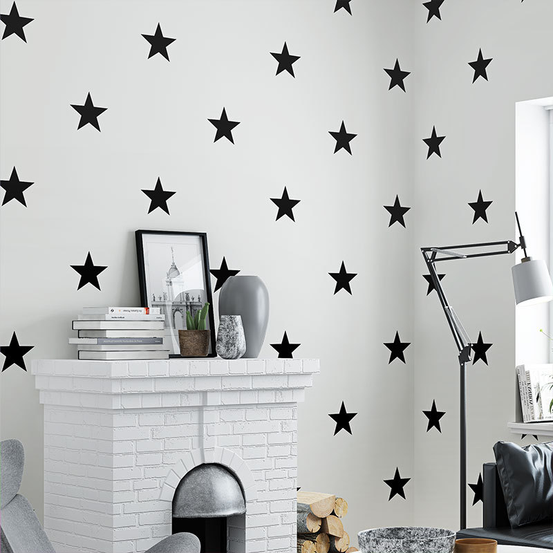 Black White Star Baby Nursery Wallpaper For Kids Room Neutral Boys Girls Wall Paper For Children Bedroom Coverings Decor