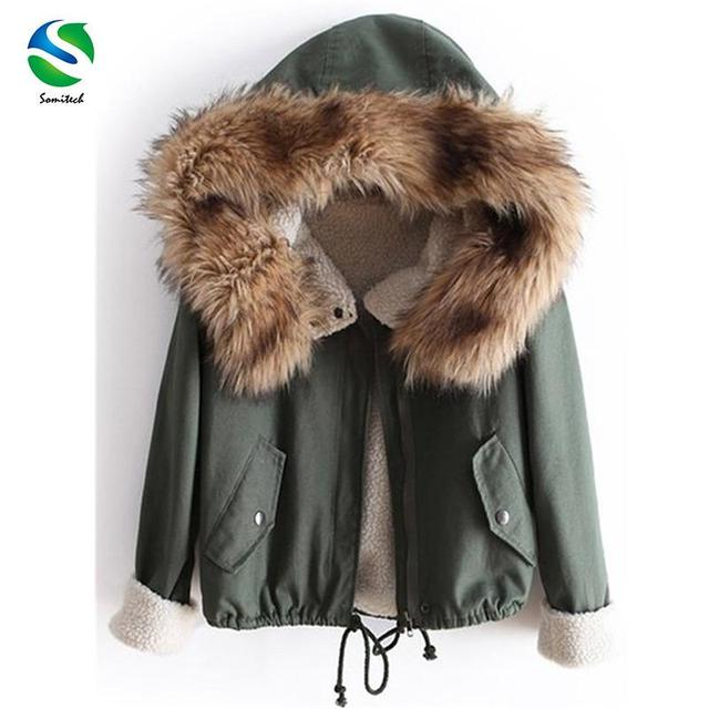 New 2016 Winter Big Fur Collar Short Jacket Winter Jacket Women Handsome Warm Coat Down Fleece Lined Parka
