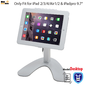 Tablet Stand Anti-Theft Kiosk Mount for iPad air 1 2 Pro 9.7 holder Mount display for tablet metal with Lock desktop Security for ipad 2 3 4 air pro 9 7 table gooseneck lock mount display on restaurant security desktop holder mounting on shop