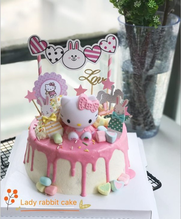 Aliexpress Buy Pink Purple Red Hello Kitty Birthday Cake