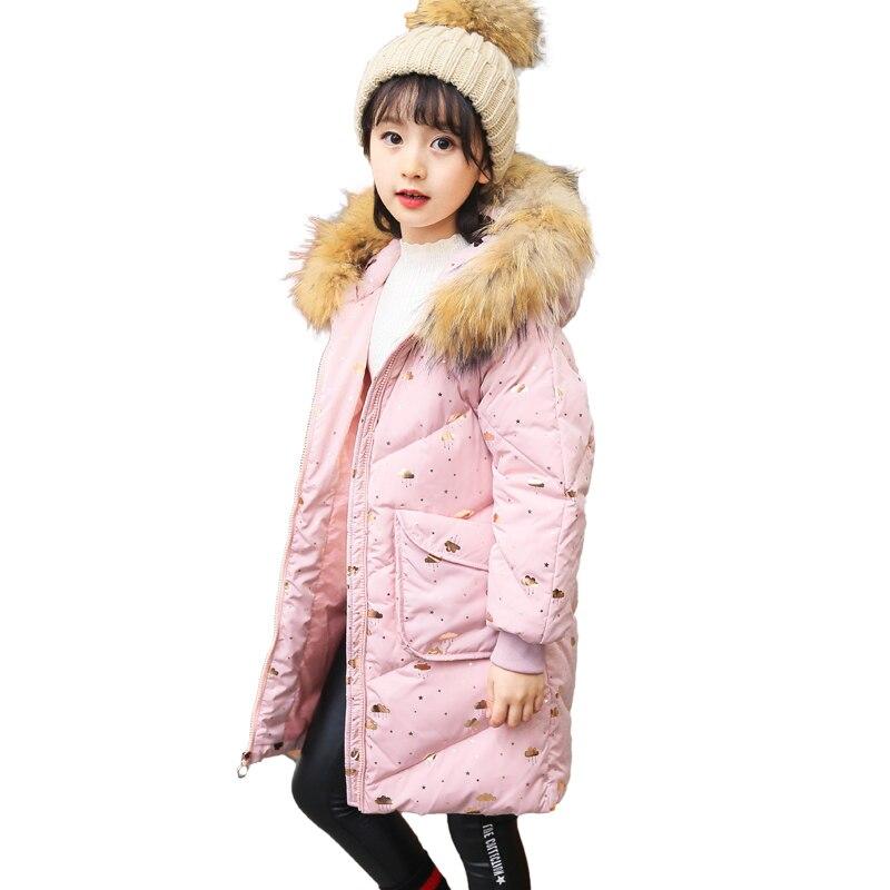 Girls Winter Warm Parka Print Jackets Kid School Princess Cute Keep Warm Christmas Hooded Fur Collar Coat Kid Winter Clothes