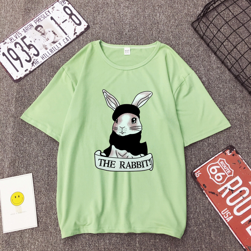 Cute Rabbit Print Women Tshirt High Quality Short Sleeve Round Neck Cotton Spandex Women Tops Casual Loose Women T-shirt 7