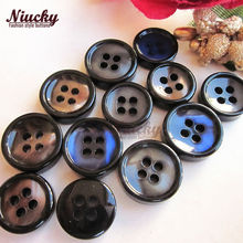 Niucky 11mm/12.5mm 4 holes black thin side bowl pearlescent fashion buttons for sewing Blue Coffee Gray shirt buttons R0201-036