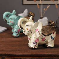 The elephant ornaments European luxury box retro decor Home Furnishing high-grade living room table multifunctional box