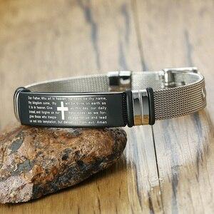 Image 4 - Bracelets en mailles pour la prière du seigneur chrétien, en acier inoxydable, de croix ajustable, couleur argent, bijoux masculins