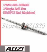 BallScrew 1605 SFU1605 L=700mm Rolled Ball Screw With Single Ballnut For CNC parts BK/BF12 Standard End Machined