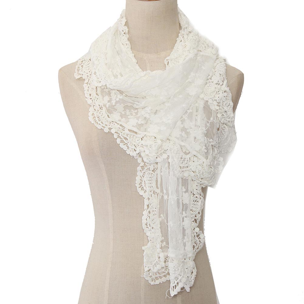 WHITE LACE FLORAL SCARF WOMEN WRAP SHOULDERS FASHION WOMAN STYLE SWFF143