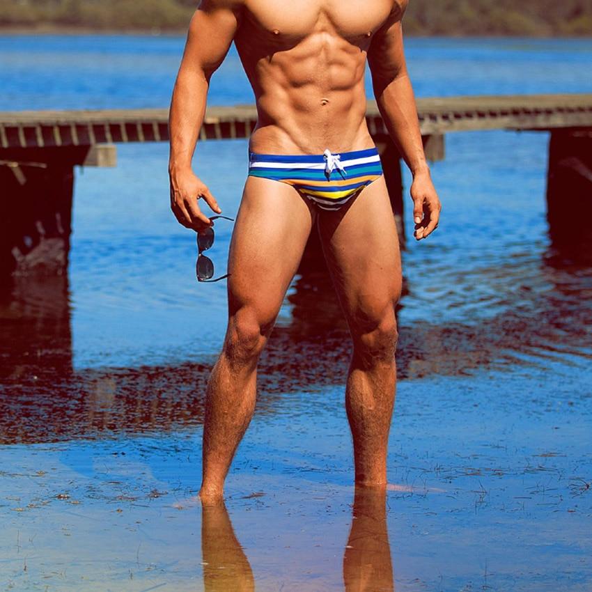 Topdudes.com - Super Sexy Men's Striped Triangular Swimwear with Rope