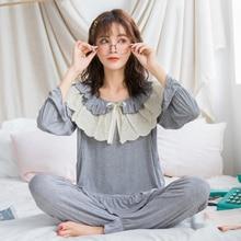 Купить с кэшбэком Maternity Nightwear For Nursing Pajamas Spring Autumn Korean Modal Breastfeeding Sleepwear Loose Soft Pregnancy Clothes Set A316