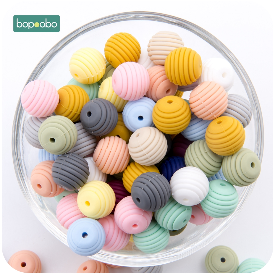 Bopoobo Silicone Spiral Beads 20pcs 15mm Silicone Round DIY Nursing Jewelry Accessories Honeycomb Beads BPA Free Baby Teether