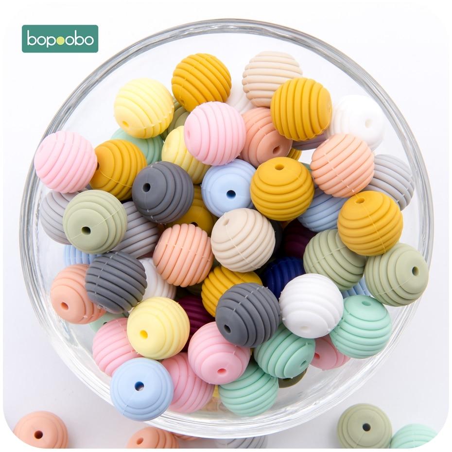 Bopoobo силиконовые спиральные бусины 20 шт 15 мм Силиконовая Круглая DIY аксессуары для кормящих ювелирных изделий сотовые бусины BPA Бесплатный Д...