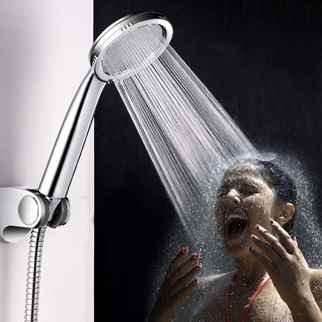 ABS Plastic Pressurized Shower Head Water Saving Ultra Thin Bathroom Round Shape
