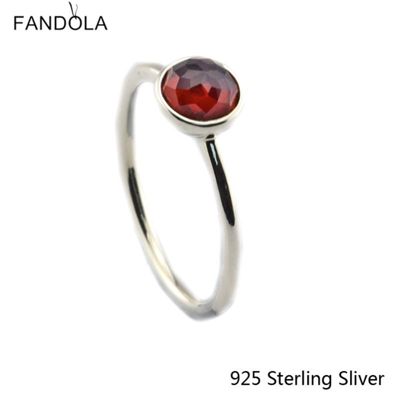 CKK 925 Sterling Gümüş Yanvar Damlası, Qadınlar üçün Garnet - Gözəl zərgərlik - Fotoqrafiya 2